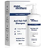 Man Matters Anti Hair Fall Shampoo | DHT Blocker | Caffeine, Biotin & Argan Oil | Paraben & Sulphate Free | Strong and Smooth Hair for Men | 300 ml