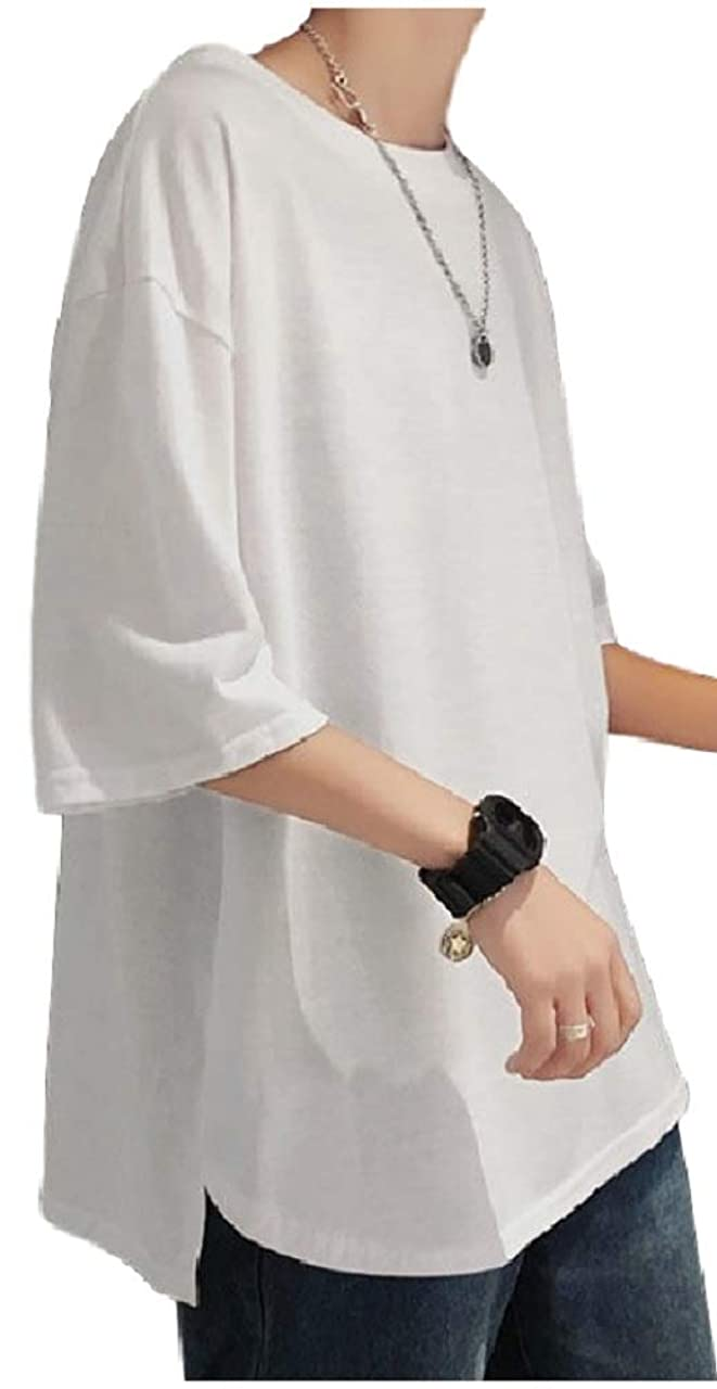 市の中心部する必要がある分数[フローライズ] ラウンドカット ゆったり 無地 カットソー 抜け感 Tシャツ tシャツ メンズ おおきい サイズ