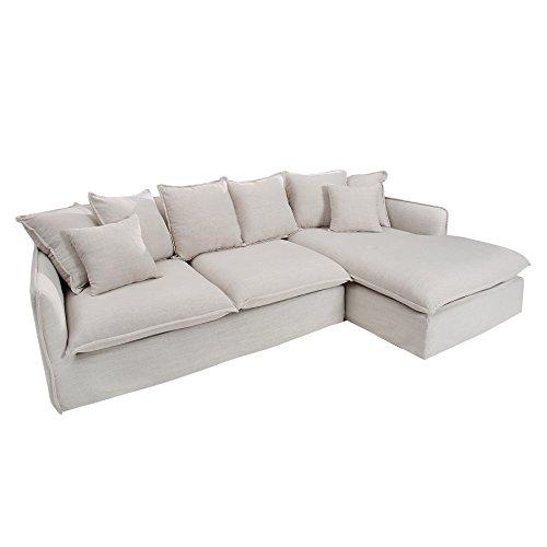 Großes Ecksofa HEAVEN 255cm Leinenstoff in Natur Leinen Couch Eckcouch Sofa