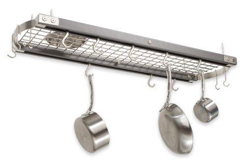 JK Adams 39-Inch-by-13-Inch Hardwood Ceiling Pot Rack 8-Pot Hooks and 4-Utensil Hooks Included Metallic Gray