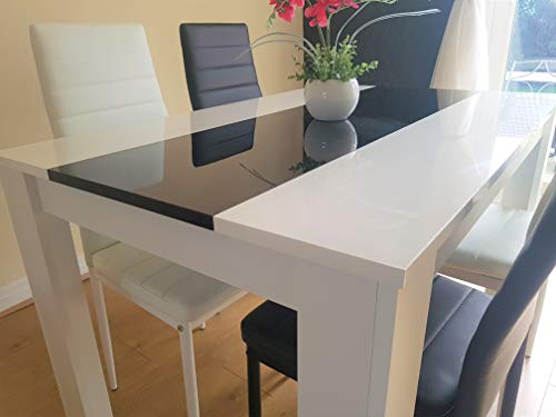 KOSY KOALA White and black wood dining Table with 4 white or black Faux Leather chairs high gloss wood dining set (Table with mix of chairs)
