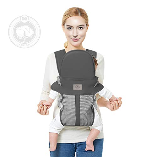 Baby-Carrier-with-New-Upgrade, FRUITEAM Baby Carrier, Refreshing and Breathable, More Suitable for Newborn Babies (Dark Gray)