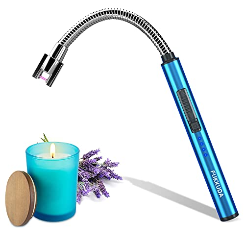 Candle Lighter Electric Arc Lighter with USB Rechargeable Battery Plasma Flameless & Windproof Lighters Double Safety Switch (Sapphire Blue)