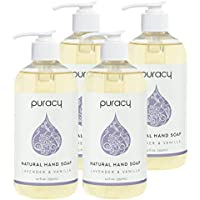 4-Pack Puracy Natural Liquid Lavender & Vanilla Hand Soap, 12 Ounce