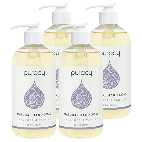 Puracy Natural Gel Hand Soap, Lavender & Vanilla, Moisturizing Liquid Hand Wash, 12 Ounce (4-Pack)
