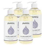 Puracy Natural Gel Hand Soap, Lavender & Vanilla, Purifying Liquid Hand Wash, 12 Ounce (4-Pack)