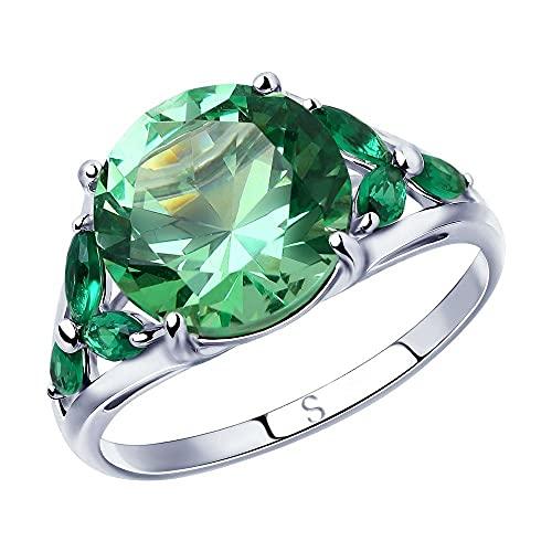 Mirkada - Anillo de plata para mujer con circonitas, color verde, talla 56