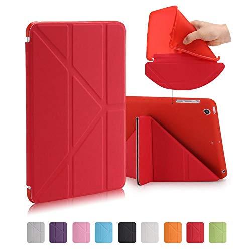 SUNMINGY Smart Case Funda For Ipad Mini 4 Mini4 7.9 Soft Leather Case Ultra-Thin Folding Sleep & Wake-Up Function-Red