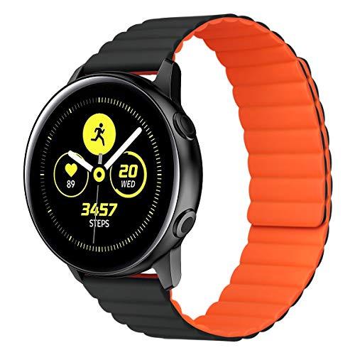 MroTech Compatible con Samsung Galaxy Active/Active2 40mm/44mm/Galaxy Watch 3 41mm/Galaxy 42mm Correa 20mm Silicona Pulseras Repuesto para Huawei Watch GT 2 42 mm Banda Hebilla Magnética-Negro/Naranja