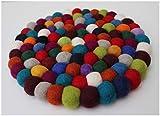 Fairtrade Filz Untersetzer Topf Untersetzer kunterbunt 22 cm handgefertigt aus reiner Wolle, hitzebeständig - 4