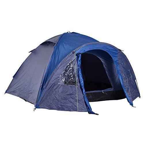 Outsunny Tente de Camping familiale 4-5 Personnes Montage Facile Double Porte et fenêtres dim. 3L x 2,50l x 1,30H m Fibre Verre Polyester Bleu Marine