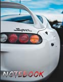 White Toyota Supra Metallic Notebook: Awesome Notebook with 120 pages 8.5x11',perfect for men, women, boys and girls and for any car lovers enthusiast, unique holiday gift idea