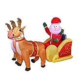 rzoizwko Decoración inflable de Navidad Santa Claus en trineo con renos, luces LED para fiestas de Navidad, para interiores, exteriores, jardín, patio, césped, decoración de invierno