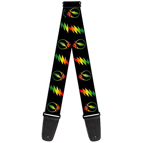 Guitar Strap Steal Your Face Lightning Bolt Repeat Black Rasta 2 Inches Wide