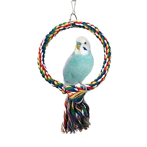 Bird Rope Swing Colorful Perch Climbing Toy for Parrots Budgie Parakeet Cockatiel Cockatoo Conure (A: Swing Ring Toy-S)