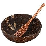 Hemoton 1 juego de cuencos de coco con tenedor para servir alimentos, cuenco de cáscara de coco, ensalada de frutas de madera para veganos, decoración de desayuno, helado, sopa, arroz