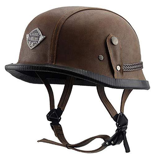Motorradhelm Elektro-/Fahrradhelm Harley Leder Helm DOT Standard Männlich Soldaten Style L braun