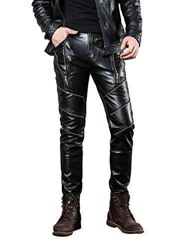 Idopy Herren Slim Fit Soft PU Faux Leder Biker Hose Trachtenlederhose Trachtenlederhose Lederhosen, 32W, Schwarz