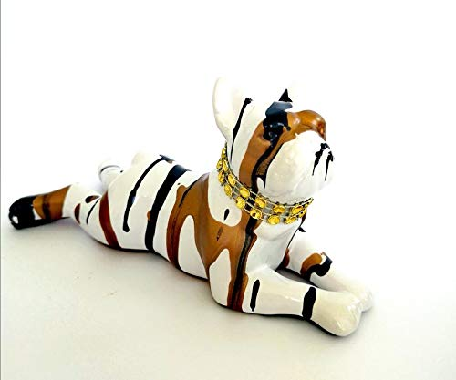 Laure TERRIER Statue of French Bulldog Lying, Gold Drip Model. Ceramic, Length 5,5 inches Decoration