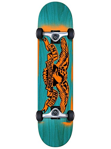Anti Hero Blau Orange Stencil Eagle Mini - 7.38 Inch Skateboard Für Kinder Kompl (One Size, Blau)