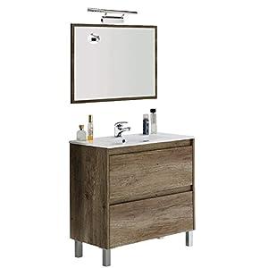 Mueble BAño con ILUMINACIÓN LED + Espejo + Lavabo + Grifo, Mod Atenea