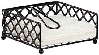Heavy Weight Powder Coated Steel Lattice Flat Organizer Collection Napkin Holder Keep All Your Napkins Neat And Organized (Black)