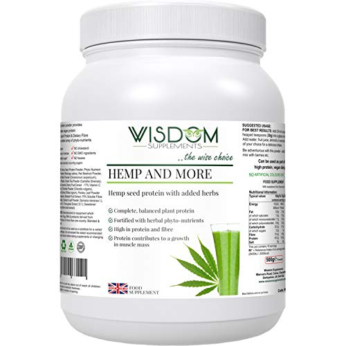 Wisdom Supplements Hemp and More - Pure, Vegan, No Gluten or GMO -Hemp Protein Powder with Alfalfa, Ceylon Bark, Baobab Fruit, Dandelion Root, Green Tea - Rich in Fibre -Drink Supplement - 500g