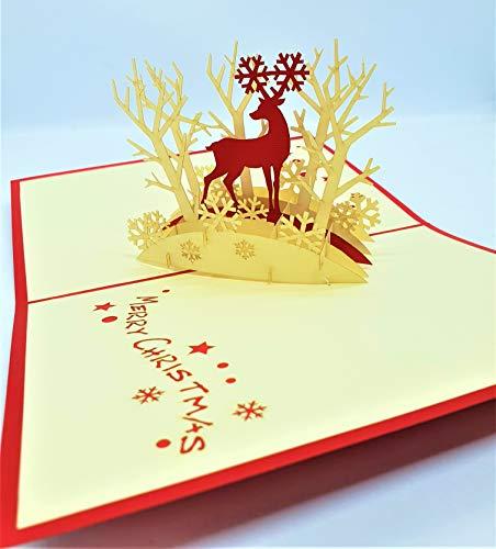 BC Worldwide Ltd Tarjeta de Navidad emergente 3D hecha a mano Feliz Navidad Reno Copos de nieve Árbol Estrella David Saludos de origami Adorno de regalo de Navidad