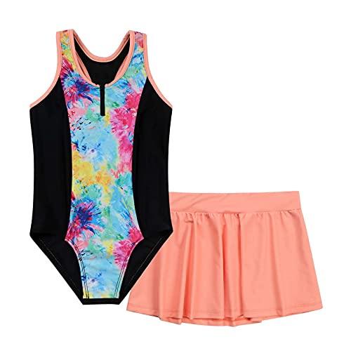 TiaoBug Badeanzug für Mädchen Gepunktet Schwimmanzug Kinder Bikini Bademoden 110/116 122/128 134/140 146/152 158/164 170/176 Batik B 170-176