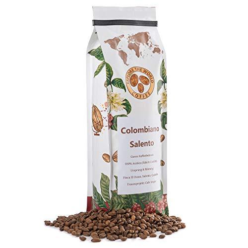 EXPLORE THE WORLD COFFEE Colombiano Salento - 500 Gramm ganze Kaffeebohnen - 100% Arabica Bohnen - Helle Röstung für Filter und French Press - Hochland Kaffee Bohnen - Kolumbianischer Kaffee (500)