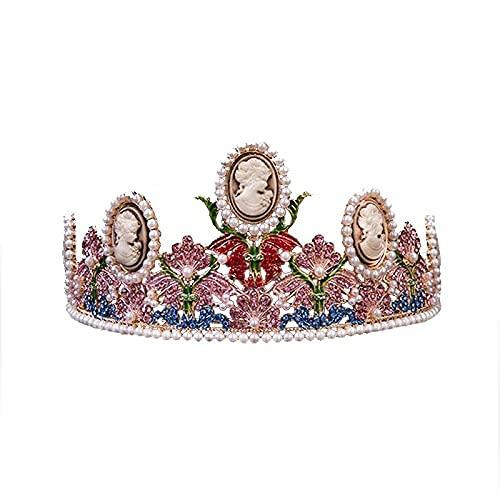 Alto Grado Oro Perla Vintage Ronda Corona Novia Tocado Grande Belle Corona Boda Accesorios de la Joyería del Cabello Headwear