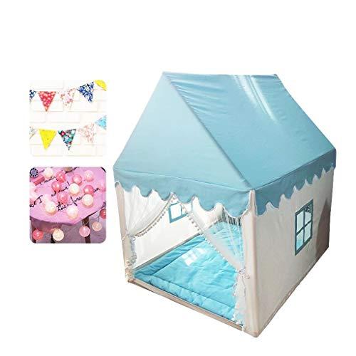 ANQIY Tienda de campaña de juegos para interiores, casa de juegos para niños, castillo, para interiores y niños, juguete para niños (color: azul, tamaño: #1)