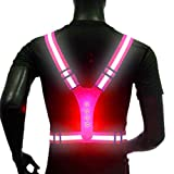 Jeweky LED Running Reflective Vest Gear Adjustable Safety Waterproff Vests with High Visibility Elastic Straps for Men and Women for Sport (Pink)