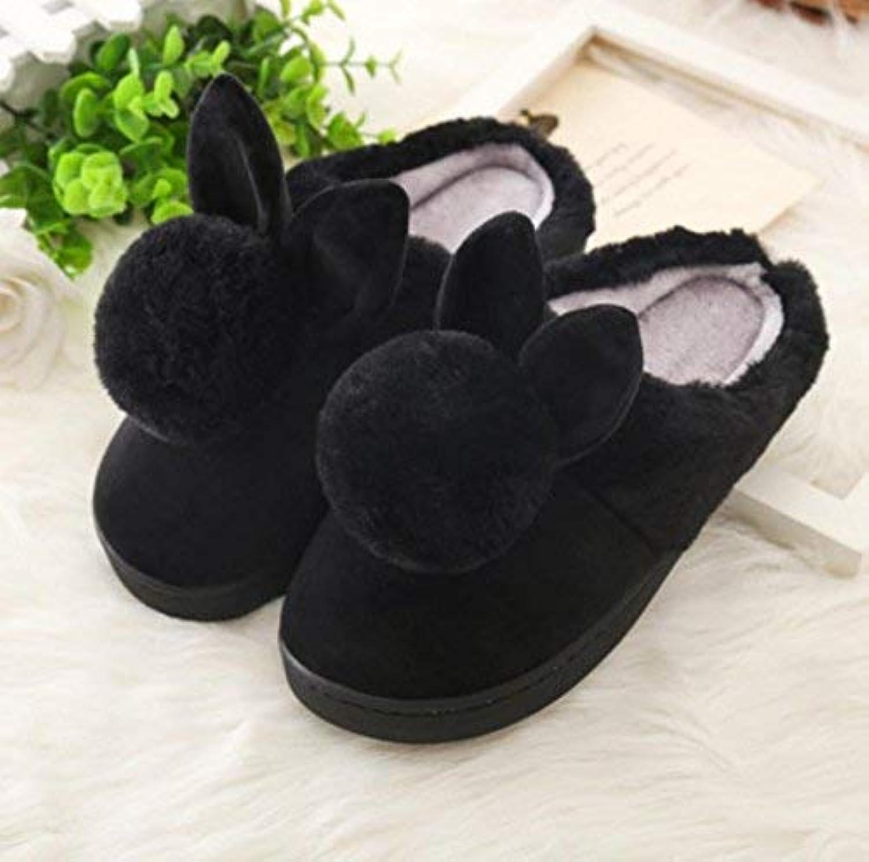 Lady Slippers, dams Home Home Home Cotton Slippers inomhus Håll varma svarta Söta Tillfälliga Slippers Jordade Färger Kvalitet för kvinnor  bästa rykte