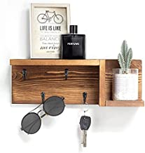 """AKKO Wooden Key Holder for Wall Decorative Mail and Key Holder Organizer with 4 Key Hooks and """"Z"""" Shape Wall Mount Floating Shelf ,Rustic Home Decor for Wall, Entryway, Mudroom, Bathroom"""