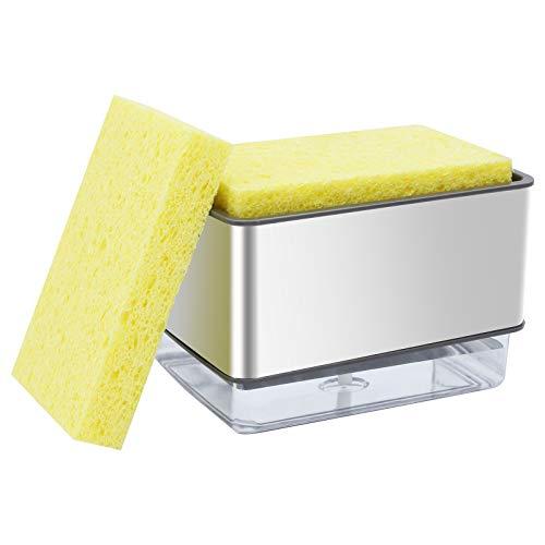 TAECOOOL Dispensador de jabón de pintura en aerosol, dispensador de jabón de cocina, soporte de esponja 2 en 1 con bomba de mano y 2 esponjas de pulpa de madera(serie dos)