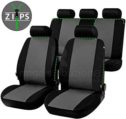 RMG FBA16142 stoelhoezen voor XF stoelhoezen zwart grijs geschikt voor stoelen met airbag armleuning en achterbank