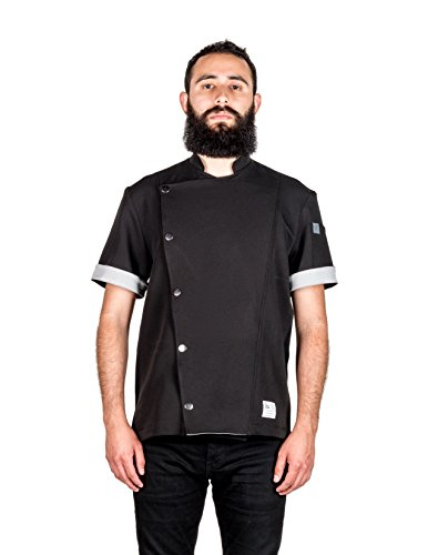 Crew Apparel Men's Chef Coat The Hipster Made in America … (Medium, Black)