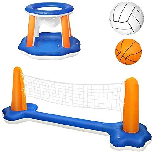 ARONTOME Aufblasbarer Basketballkorb mit 2 Bällen, Aufblasbares Wasserballspiel,Volleyballnetz, für Schwimmbad Beach Party Gefälligkeiten