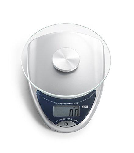 ADE digitale keukenweegschaal KE 736 Celina. Compacte elektronische weegschaal in retrodesign met rond weegoppervlak van veiligheidsglas voor maximaal 5 kg. Inclusief batterij. Kleur: zilver - antraciet