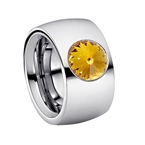 Heideman Ring Damen Coma 14 aus Edelstahl Silber farbend poliert Damenring für Frauen mit Swarovski Stein Kristall gelb im Fantasie Edelsteinschliff 10mm