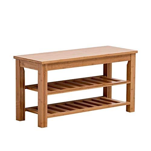 GENFALIN 3-Tier bastidor de bambú zapatos Bench, zapatos Organizador, Estante de almacenamiento, ideal for Puerta de entrada Pasillo Baño Sala de estar de pie de calzado Bastidores (color, tamaño: 100