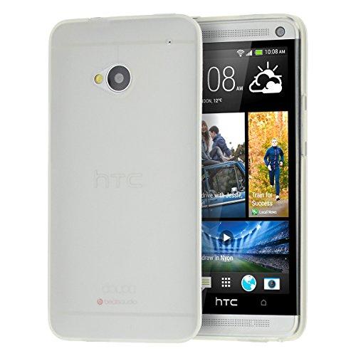 doupi PerfectFit Schutzhülle für HTC ONE (M7), Staubschutz eingebaut mit Staubstöpseln Matt Clear Design TPU Schutz Hülle Silikon Schale Bumper Case Schutzhülle Cover, weiß