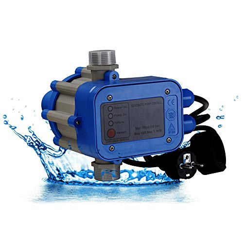 wolketon Pumpensteuerung Automatik Pumpe Druckschalter 10 bar mit Kabel Hauswasserwerk Pumpenschalter für alle Tauchdruck