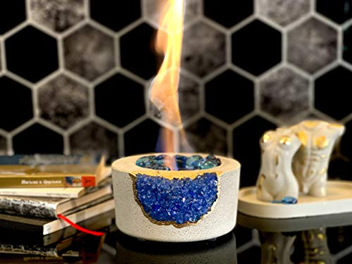 Tabletop Fireplace with Amethyst | Indoor Rubbing Alcohol Bio Ethanol Fireplace Fire Bowl Pit Outdoor Decor Portable Table Top Small Chiminea Meditation Bowl Geode Candle Holder Boho Concrete Pot
