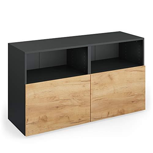 Vicco Sideboard Compo Highboard dressoir commode multifunctionele kast (antraciet/eiken)