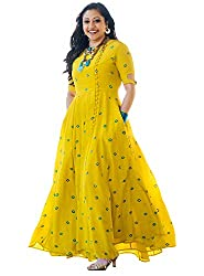 Arayna Womens Long Embroidered Rayon Kurti, Yellow