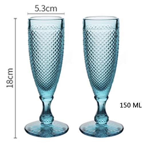 Whiskyglas, voor bruiloften, champagne, glas, party, sap, gooblet, creatief reliëf, Europese diamant, zonder lood, glas, gegraveerd 150ml Blue 2 Pcs