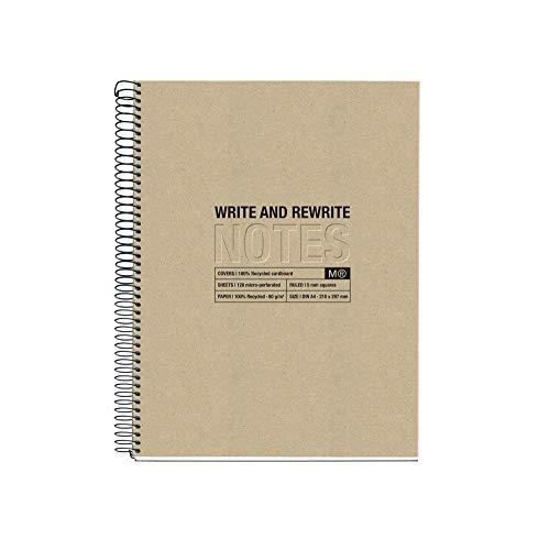 MIQUELRIUS 6028 - Cuaderno Espiral A4, tapa dura, 120 Hojas Cuadrícula Interior 4 Colores Craft