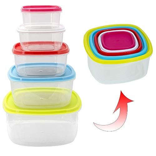 ORYX 5071010 Fiambreras Cuadradas, Plastic, Multicolor